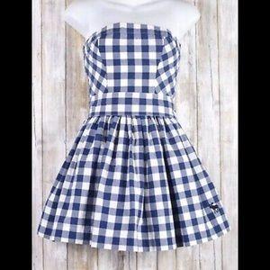 NEW ABERCROMBIE & FITCH Blue & White Sun Dress-XS
